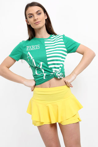 Kylie Multi Layered Frill Mini Skorts Shorts - Lemon - Storm Desire