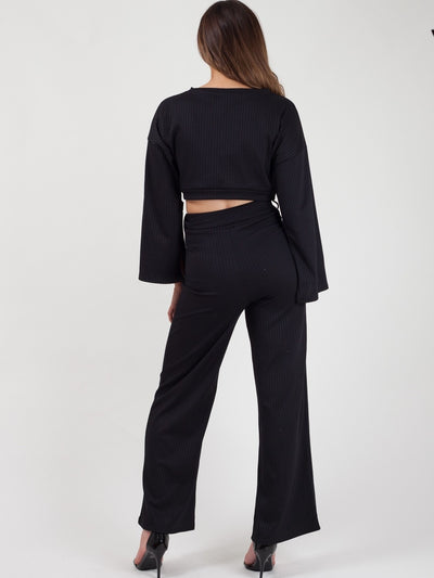 Black Split Sleeve Ribbed Crop Top & Trouser Co-ord - Isabel - storm desire