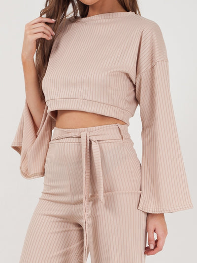 Beige Split Sleeve Ribbed Crop Top & Trouser Co-ord - Isabel - storm desire