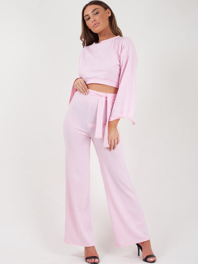 Pink Split Sleeve Ribbed Crop Top & Trouser Co-ord - Isabel