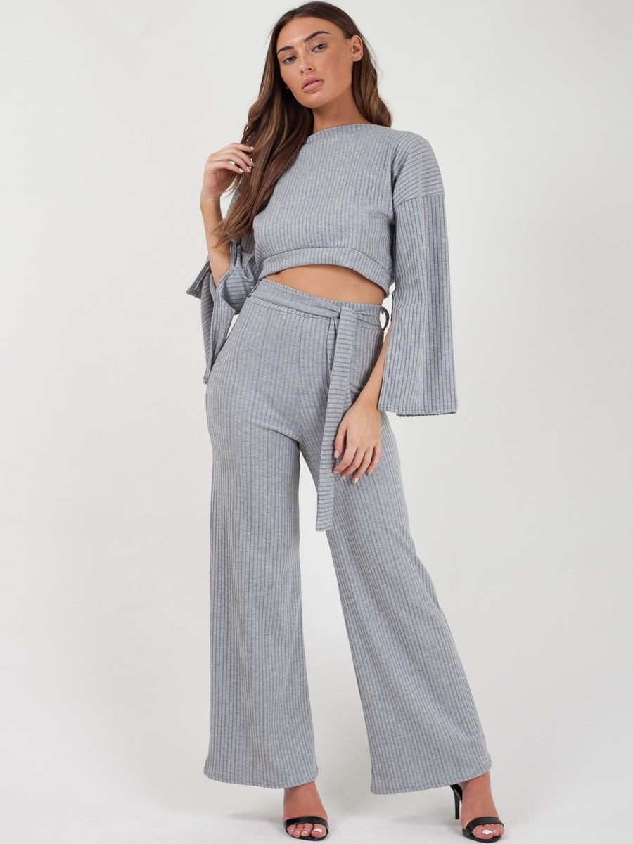 Grey Split Sleeve Ribbed Crop Top & Trouser Co-ord - Isabel