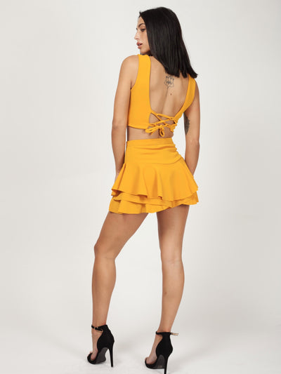 Kylie Multi Layered Frill Mini Shorts - Mustard - Storm Desire