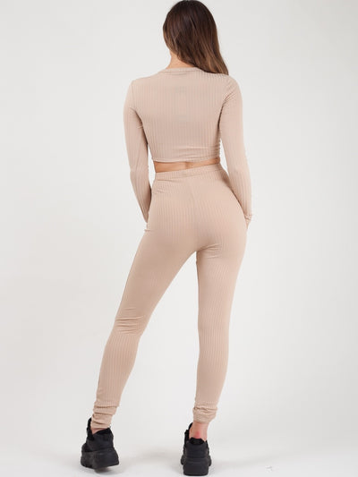 Beige Ruched Crop Top & Legging Ribbed Co-ord Set - Catherine - storm desire