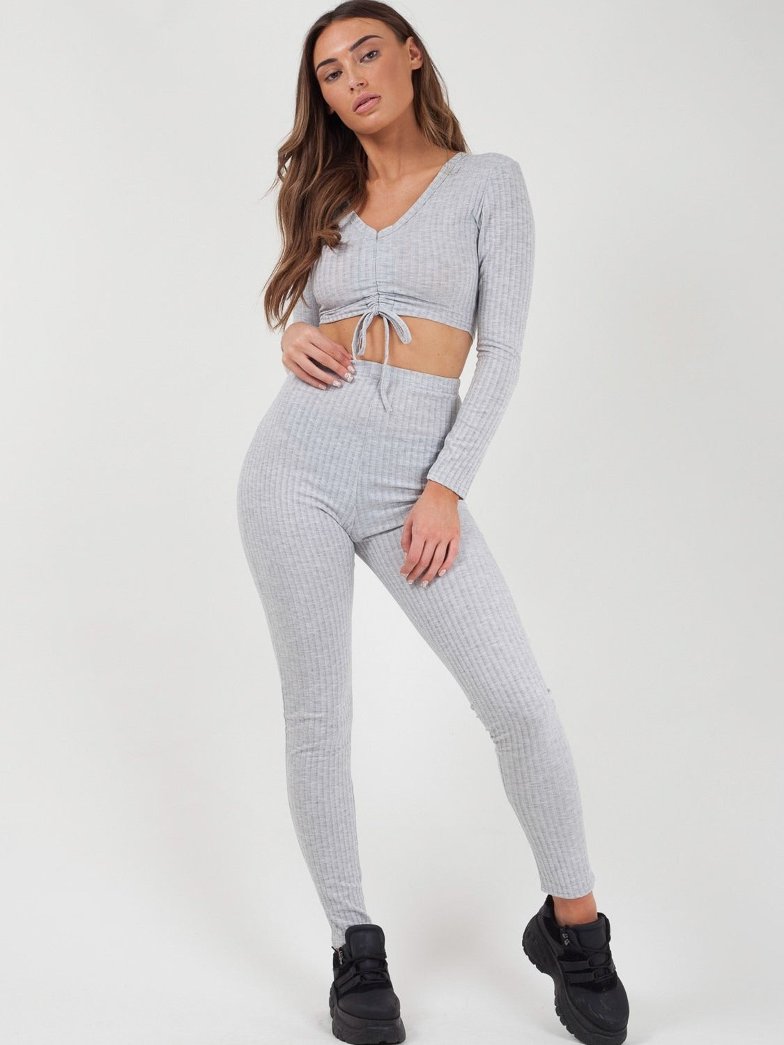 Grey Ruched Crop Top & Legging Ribbed Co-ord Set - Catherine