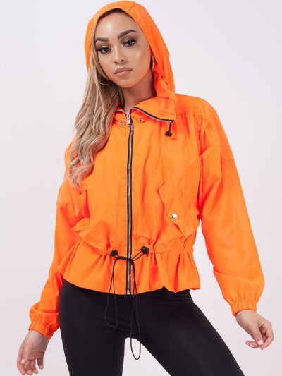 Neon Orange High Neck Hooded Festival Jacket - Parker