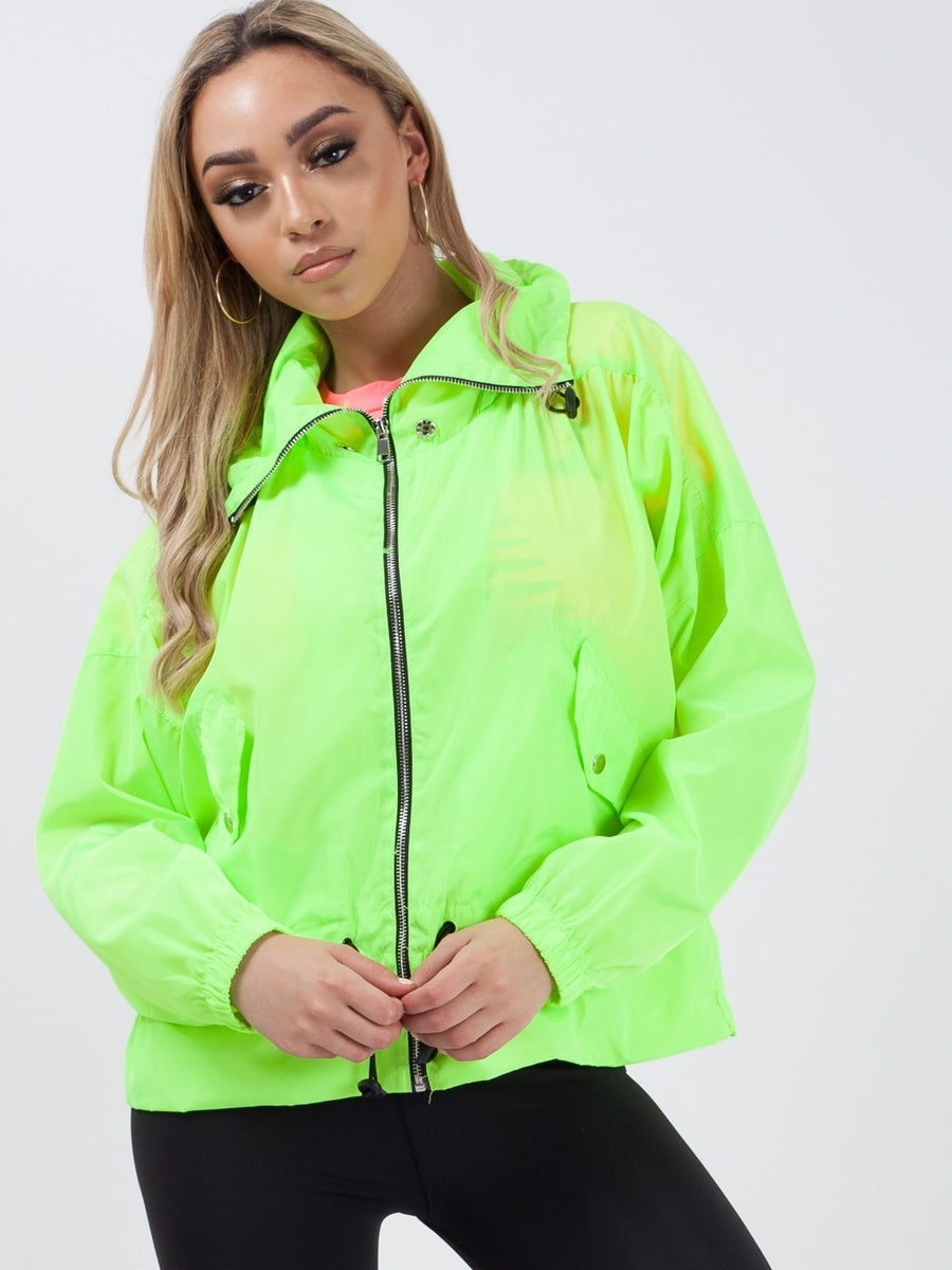 Neon Green High Neck Hooded Festival Jacket - Parker