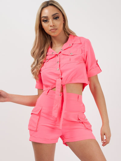 Neon Pink Crop Top & Shorts Co-ord Suit - Makayla