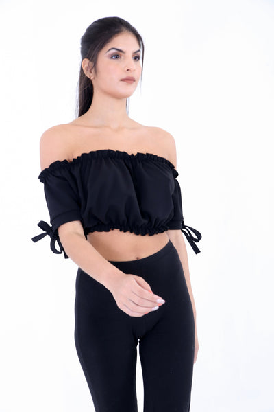 Black Ruched Bardot Crop Top - Aubree - storm desire
