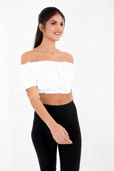 White Ruched Bardot Crop Top - Aubree - Storm Desire