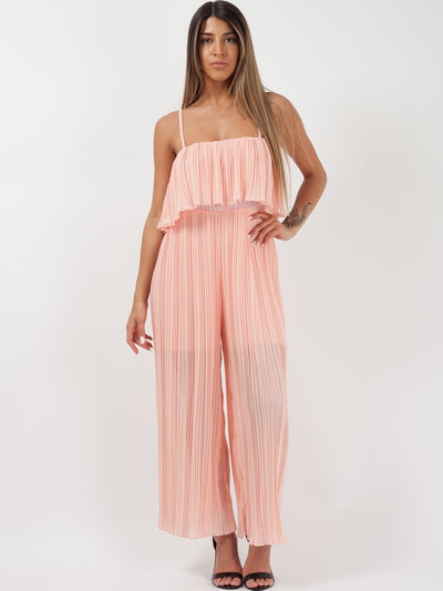 Peach Pleated Cami Frill Jumpsuit - Norah