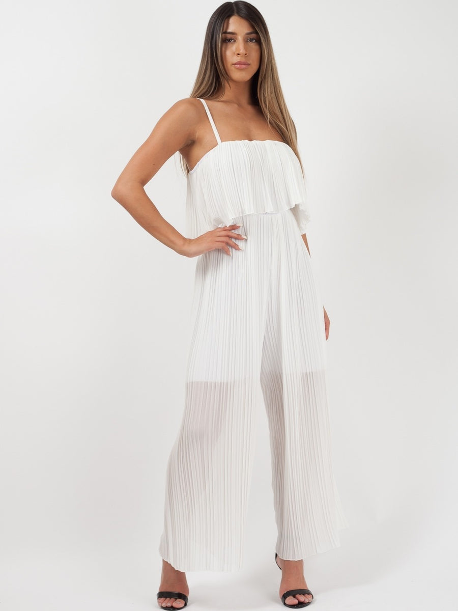 White Pleated Cami Frill Jumpsuit - Norah