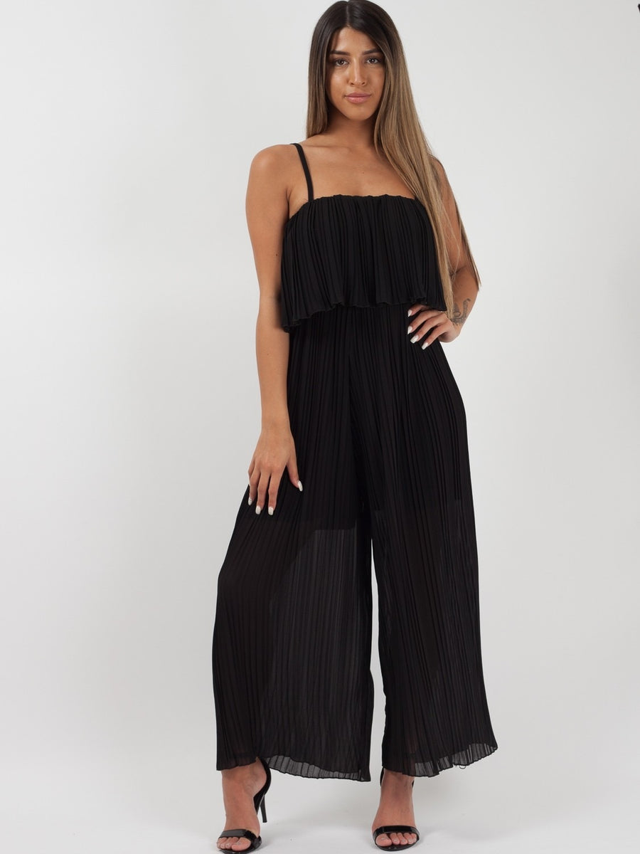 Black Pleated Cami Frill Jumpsuit - Norah - storm desire