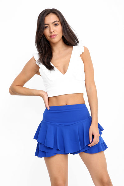Royal Blue Multi Layered Frill Mini Skorts - Kylie - Storm Desire