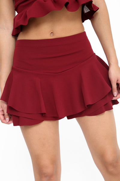 Kylie Multi Layered Frill Mini Shorts - Wine - Storm Desire