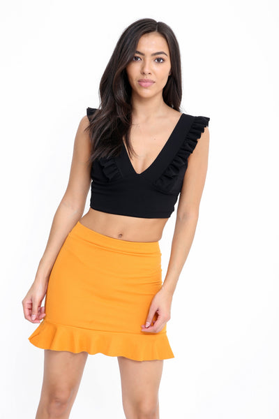 Black Ruched Frill Strap Plunge Crop Top - katryna_x - storm desire