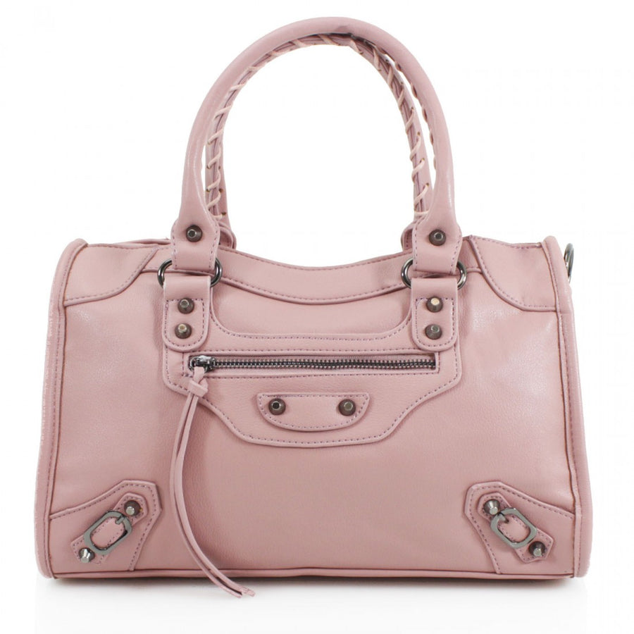 Baby Pink Buckle Zip Detail Grab Bag - Dakota - storm desire