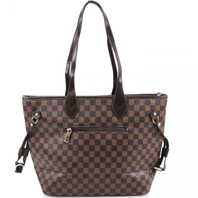 Brown Check 2-in-1 Shopper Bag & Clutch - Delaney - storm desire