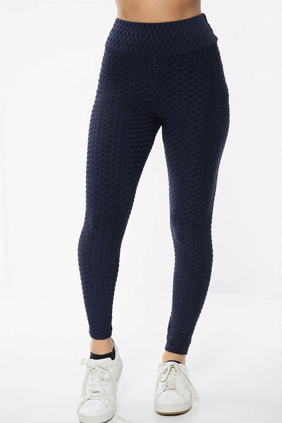 Blue Ruched Textured Active leggings - Daniella