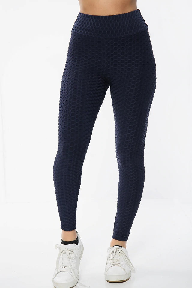 Navy Blue Ruched Textured Active leggings - Daniella