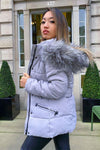 Grey Chunky Faux Fur Hood Padded Puffer Jacket - Lucy