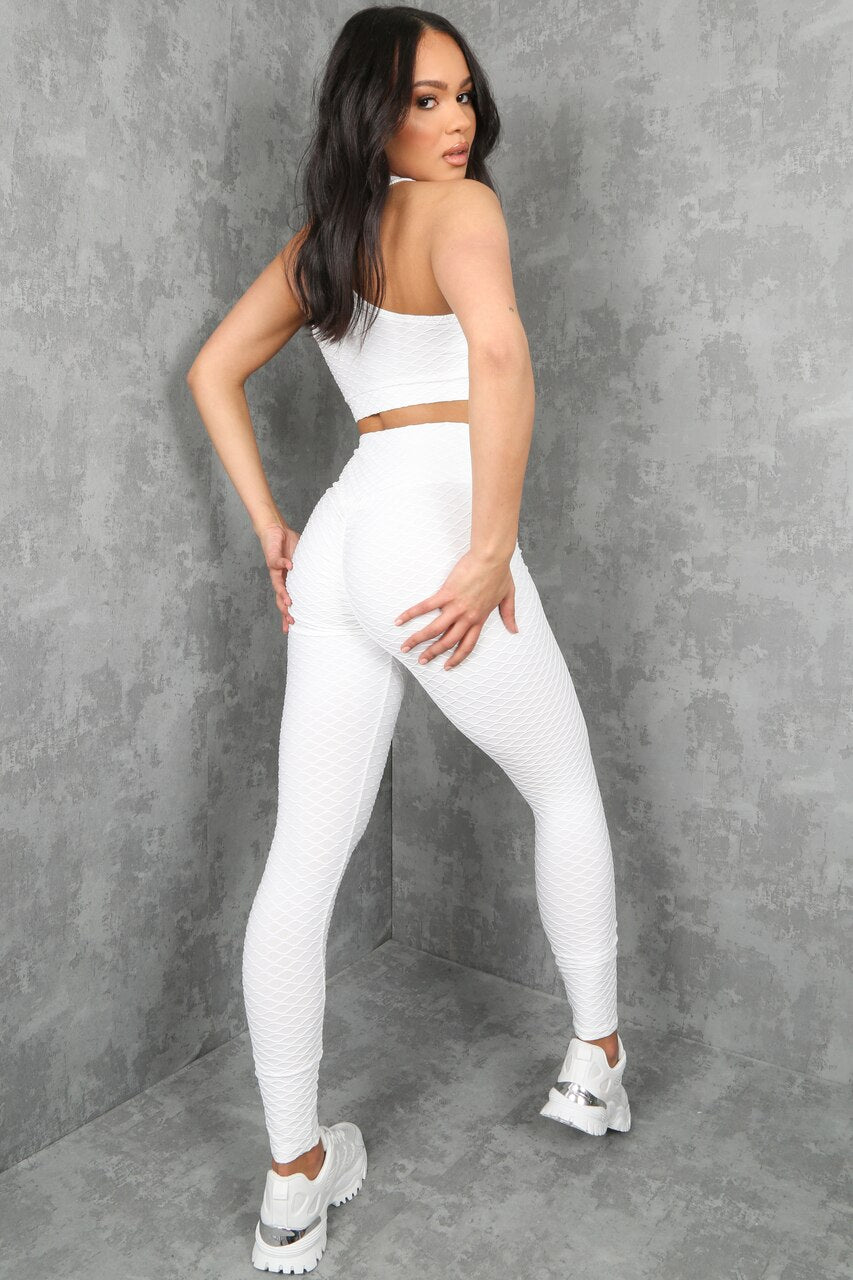 White Textured Active Top & Pants Set - Sabrina