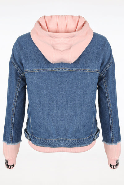 Blue denim Jersey Trim Hooded Jacket - Reign