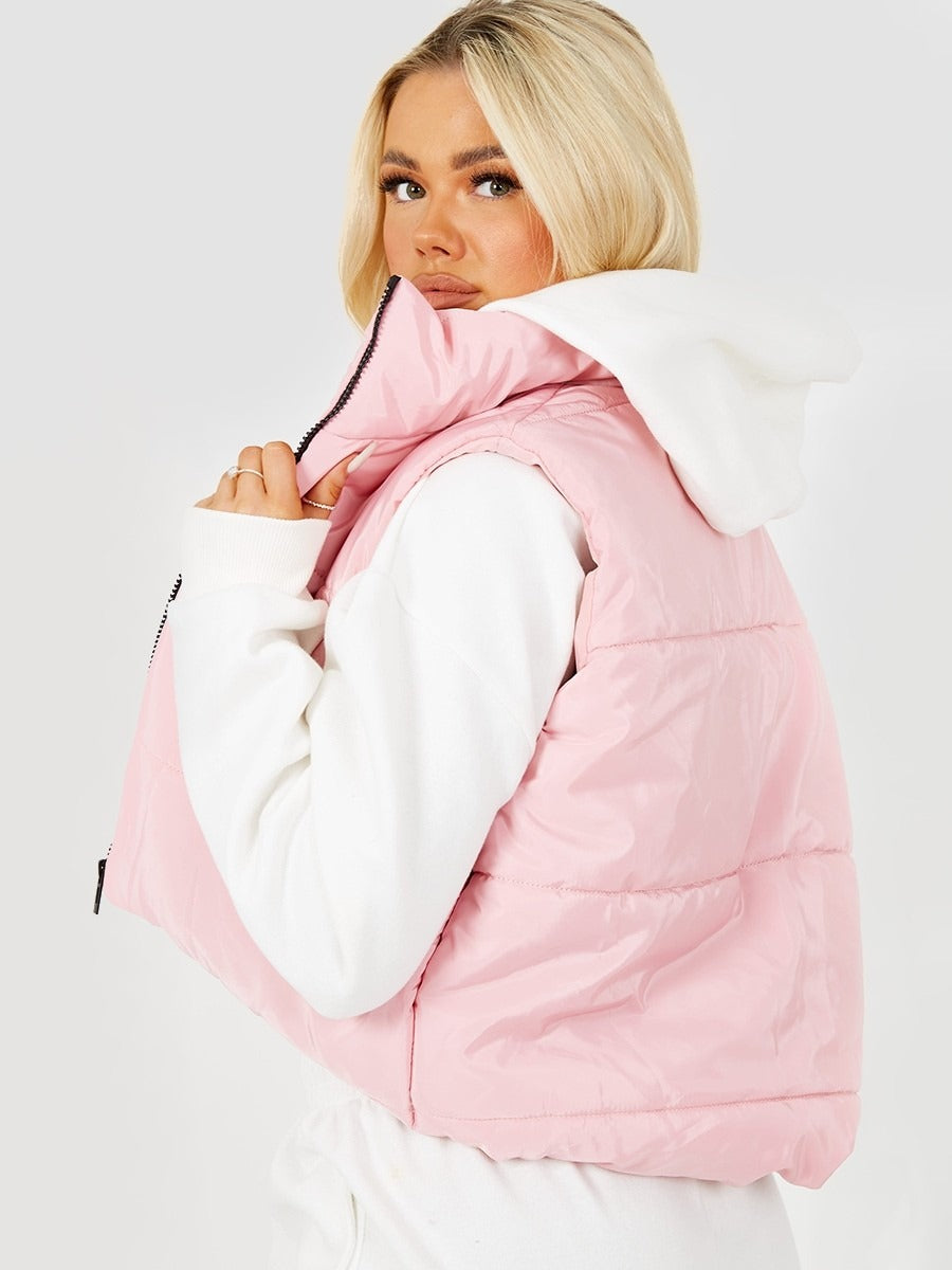 Pink Padded Cropped Gilet - Abigail