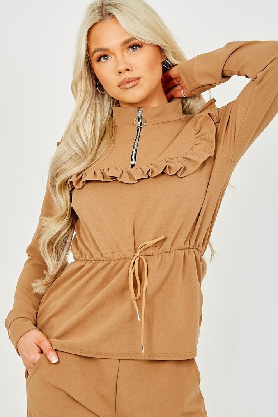 Camel Ruffle Zip Neck Loungewear - Megan