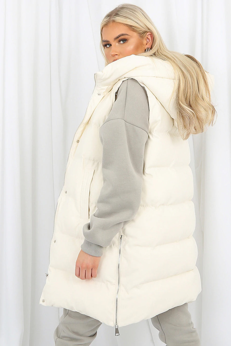 Off White Longline Padded Hooded Gilet - Jayla