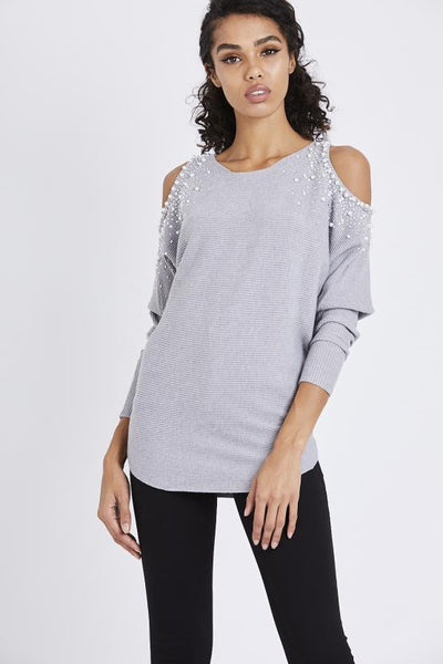 Grey Embelished Cold Shoulder Jumper - Suzanna - storm desire