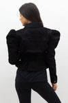 Black Denim Elasticated Waist Puff Sleeve Denim Jacket - Prim