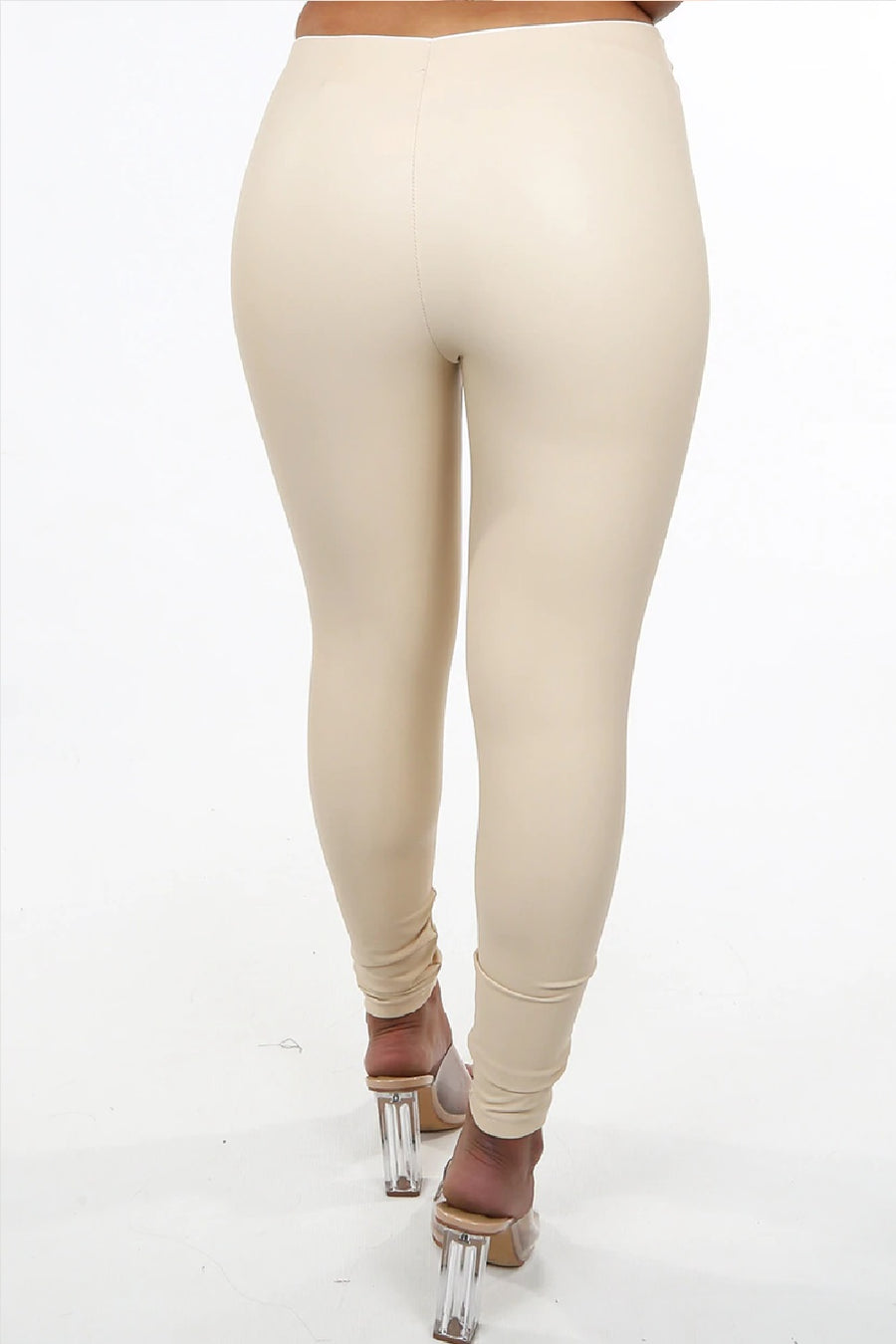 Light Beige Pu Gold Button High Waist Legging - Jayleen
