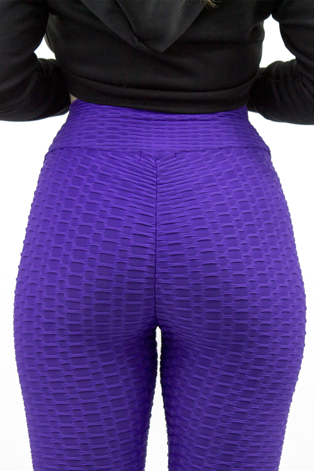 Purple Ruched Textured Active leggings - Daniella
