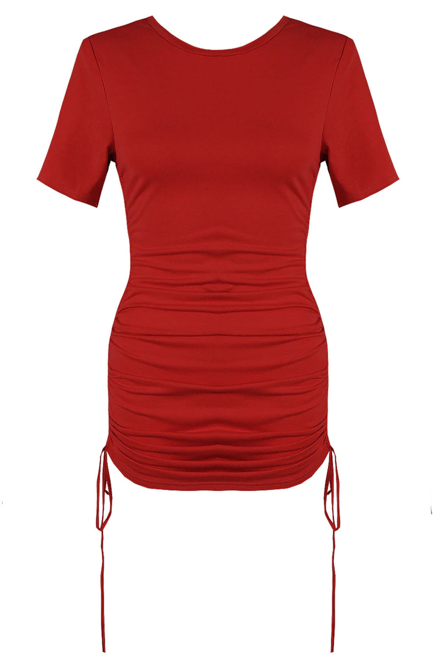 Red Short Sleeves Slinky Mini Dress - Harley