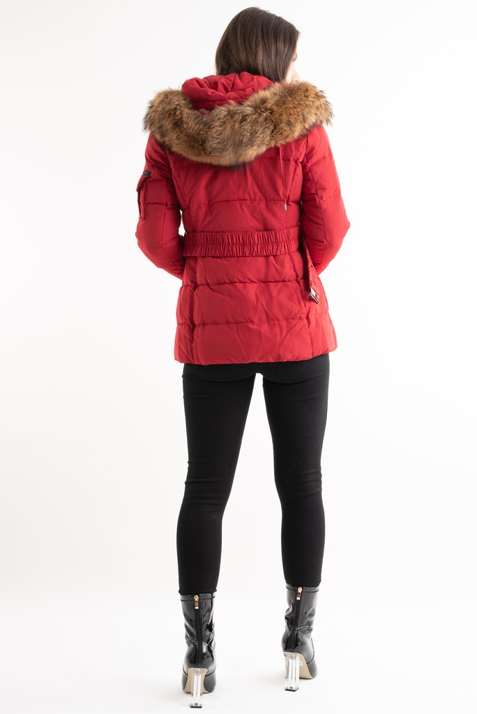 Aria Red Quilted Real Fur Hood Belt Puffer Zip Jacket - storm desire