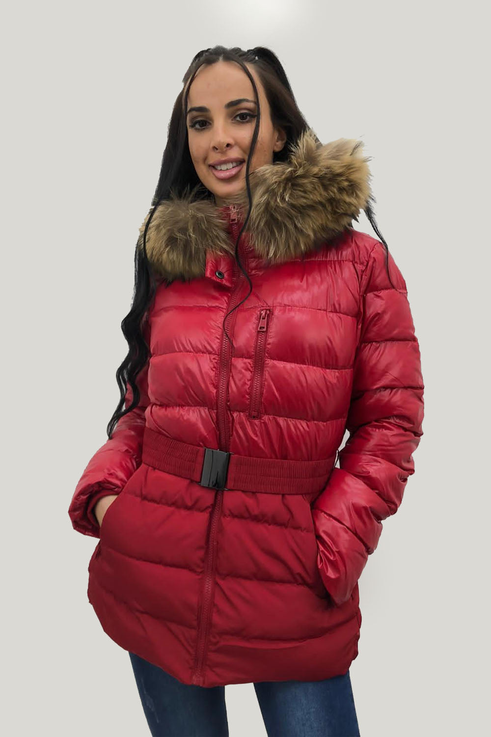 Red Natural Fur Two Tone Parka Jacket - Kailey