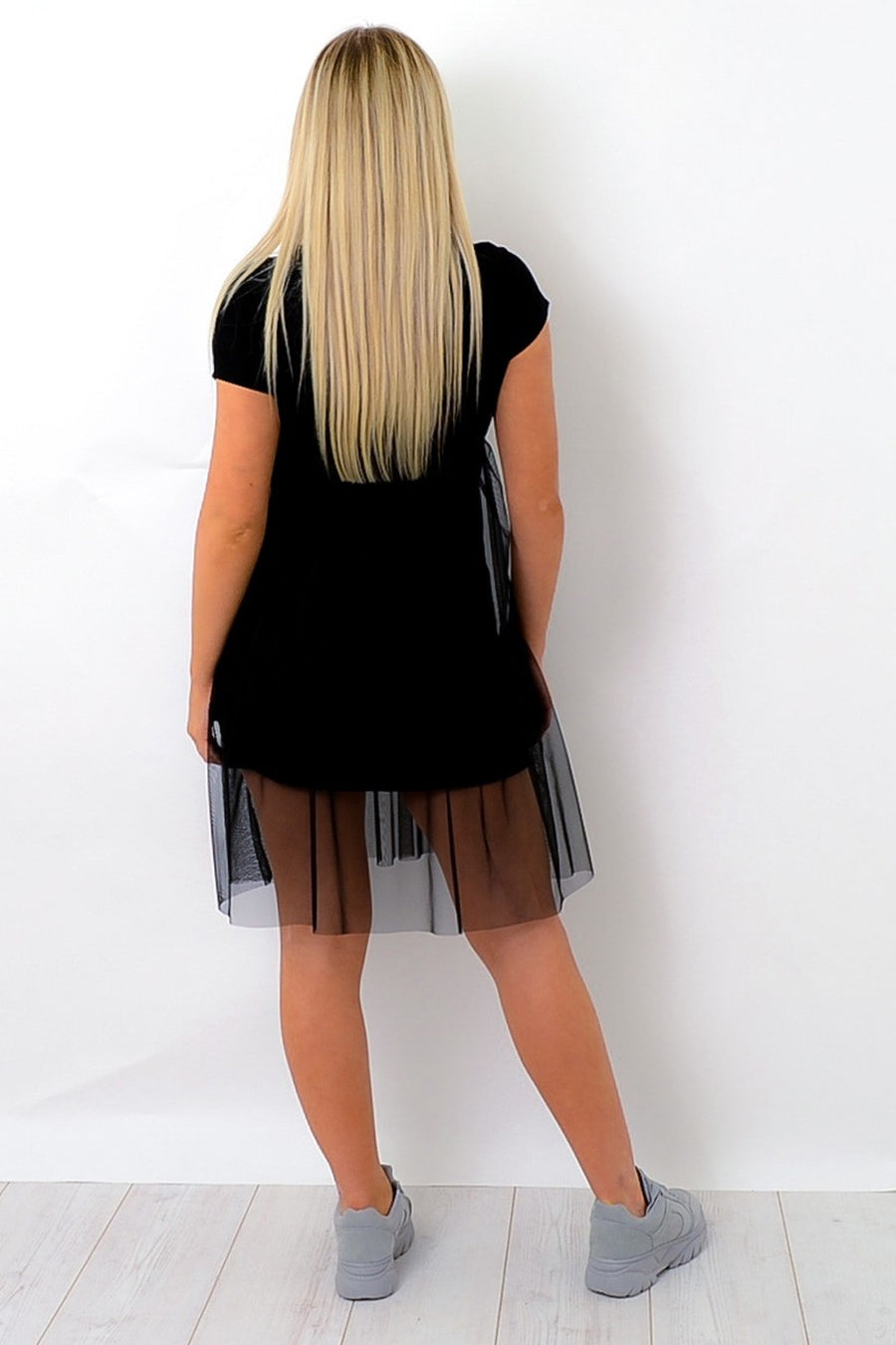Black Be What You Want Mesh T-Shirt Dress - Victoria