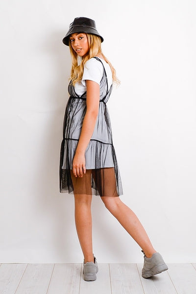 White Black Be What You Want Mesh T-Shirt Dress - Victoria