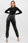 Black PU Cargo Trousers - Emilia