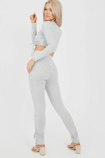 Grey Double Ruched Crop Top & Trouser Ribbed Set - Karah