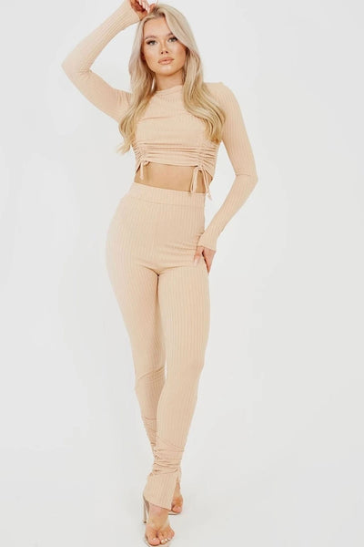 Beige Double Ruched Crop Top & Trouser Ribbed Set - Karah