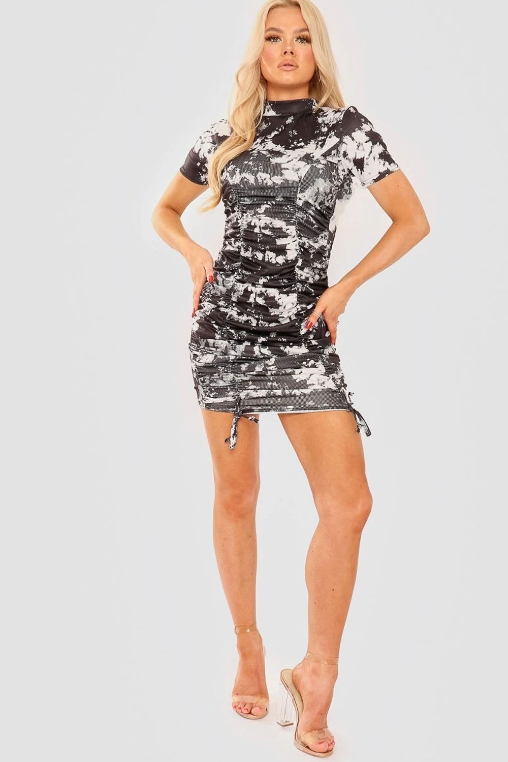 Black Grey Tie Dye Ruched Dress - Lasha
