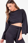 Black Split Sleeve Ribbed Crop Top & Trouser Set - Isabel