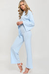 Baby Blue Split Sleeve Ribbed Crop Top & Trouser Set - Isabel