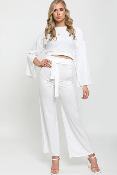White Split Sleeve Ribbed Crop Top & Trouser Set - Isabel