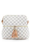 White Checkered Cross Body Zip Bag - Adeline
