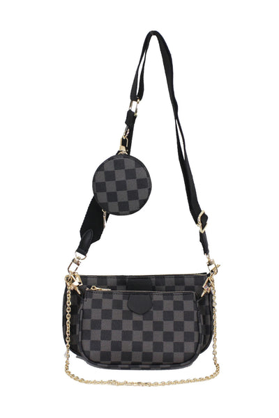 Black Checkered Strap Bag - Logan