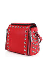 Red Silver Stud Midi Bag - Jessica