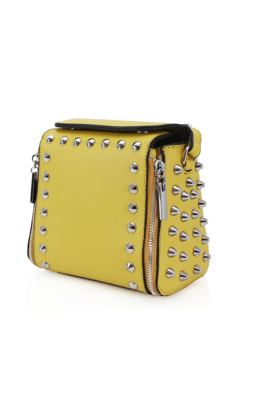 Yellow Silver Stud Midi Bag - Jessica