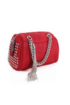 Red Studded Silver Chain Bag - Piper